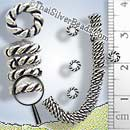27 - 28 Inch Twisted Coil Oxidized Silver Spacer Bead Strand - FULLB0083