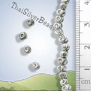 Silver Spacer Flower Print Bead - B0144 - (1 Piece)_1