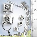 Flower Print Cube Spacer Silver Bead - B0166 - (1 Piece)