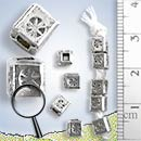 Wagon Wheel Print Cube Spacer Silver Bead - B0170 - (1 Piece)