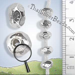 Large Silver Spacer Nugget Bead  - B0174 - ( 1 Piece)_1