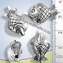 Fish 3D Silver Hill Tribe Bead - BSB0559 - (1 Piece)