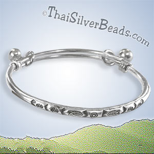 Fish Print Adjustable Bangle With Bell Options - bangw112_1