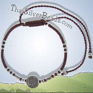 Ohm Hill Tribe Silver And Woven Adjustable Bracelet or Anklet - tsbrac013_1