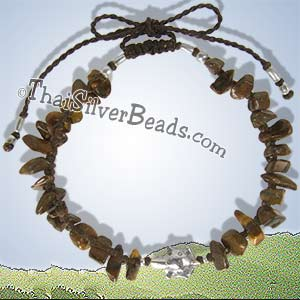 Hill Tribe Silver Turtle And Tiger Eye Adjustable Bracelet / Anklet - tsbrac014_1