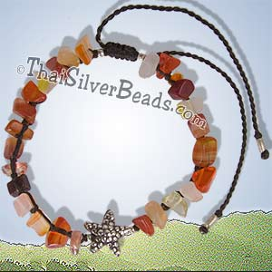 Silver Starfish And Mixed Color Nuggets - Adjustable Bracelet / Anklet - tsbrac015_1