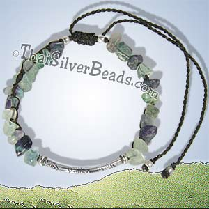 Fish Print Silver Tube With Fluorite Stone - Adjustable Bracelet or Anklet - tsbrac017_1