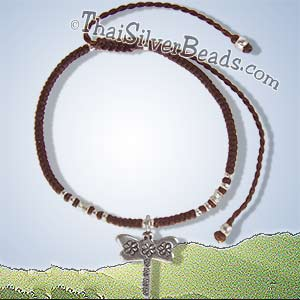 Thai Hill Tribe Silver Butterfly Woven Adjustable Bracelet or Anklet - tsbrac021_1