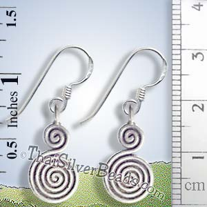 Swirl Hilltribe Silver Earrings  - Earp0056_1