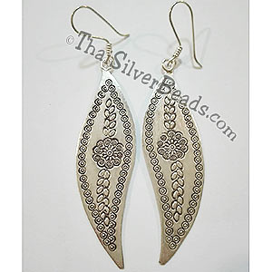 Silver Floral Pattern Earrings - 2.6 in x 0.75 in - Cus017_1