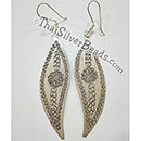 Silver Floral Pattern Earrings - 2.6 in x 0.75 in - Cus017