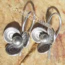 Silver Flower Earrings Set - Swirl Petals - 23 mm x 13 mm - Earethnic101