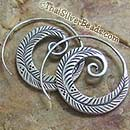 Coiled Feather Silver Earrings Set - 33 mm x 27 mm - Earethnic171