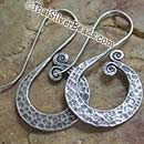 Hammered Wave Silver Earrings Set - 44 mm x 25 mm - Earethnic174