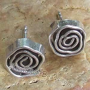 Spiral Stud Hill Tribe Silver Earrings Set 8 Mm X Earethnic192 1