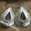 Hammered Silver Dew Drop Earrings Set - 45 mm x 28 mm - Earethnic201