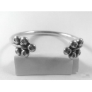 Adjustable Karen Hill Tribe Silver Daisy Stamp Bangle  - sbangle073