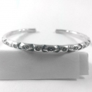 Adjustable Oxidized Abstract Pattern Karen Silver  Bangle  - sbangle128