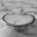 Fish Print Hill Tribe Silver Bangle - sbangle299