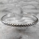 Karen Silver Bangle Patterned Oxidized Design - sbangle361
