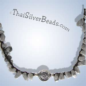 Howlite Necklace With Ohm Silver Disc Bead - tsneck003_1