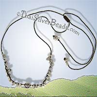 Howlite Necklace With Ohm Silver Disc Bead - tsneck003_2