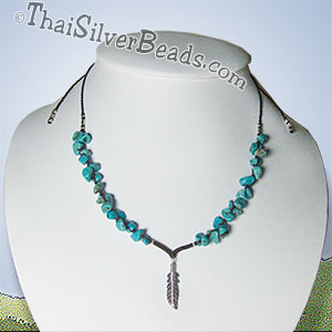 Feather Silver Pendant and Turquoise Necklace - tsneck007_1