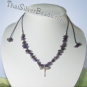 Dragonfly Silver And Amethyst Necklace - tsneck008_1
