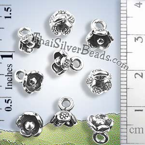Small Silver Flower Drop Charm - P0004 - (1 Piece)_1