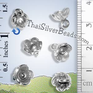 Hilltribe Silver Flower Charm - P0016 - (1 Piece)_1