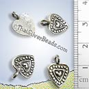Multi Hearts Silver Charm With Dot Stamp Surround - P0049- (1 Piece)
