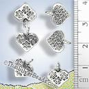 Small Heart Silver Charm With Flower Stamp - P0080- (1 Piece)