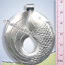 Jumping Fish Silver Pendant - P0330- (1 Piece)