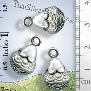Cone Silver Bell Hill-Tribe-Charm - P0587 - (1 Piece)