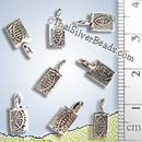 Silver Fish Fossil Print Charm - P0624 - (1 Piece)