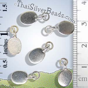 Oval Plain Silver Tag With Open Jump Ring - P0719 - (1 Piece)_1