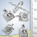 Lotus Flower Print Rectangular Silver Charm - P0755 - (1 Piece)