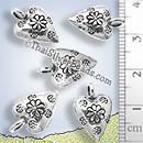 Heart And Flower Silver Puff Pendant - P0821- (1 Piece)