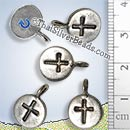 Silver Cross Disc Charm - P0930 - (1 Piece)