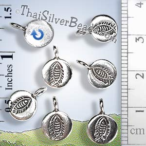 Fish Fossil Circular Silver Charm - P0969 - (1 Piece)_1