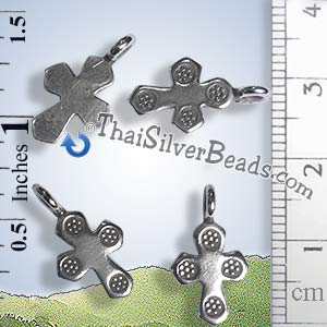 Silver Cross Charm with Daisy Print - P0993 - (1 Piece)_1