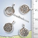 Silver Print Flower Charm - PCUS001 - (1 Piece)