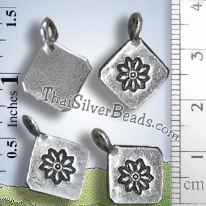 Silver Flower Print Hill Tribe Custom Pendant - PCUS018 - (1 Piece)_1