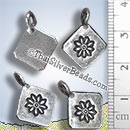 Silver Flower Print Hill Tribe Custom Pendant - PCUS018 - (1 Piece)
