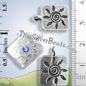 Floral Hill Tribe Design Silver Pendant - PCUS023 - (1 Piece)_1