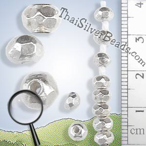 Strands - 5mm Faceted Silver Nugget Bead Strand - B0174-5mm - 6 inch Strand (15.2cm)_1