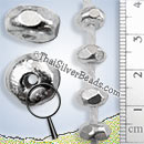Large 8mm Silver Spacer Nugget Bead  - SB0174-8mm - (1 Piece)