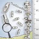 Strands - Log Shape Silver Beads - B0209 - 6 inch Strand (15.2 cm)