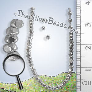 26 - 27 inch - Tiny Faceted Silver Bead Strand - FULLB0219_1