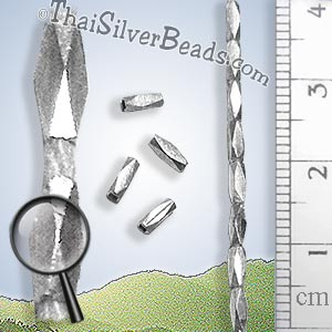 27 - 28 inch Slim Faceted Silver Bead Strand - FULLB0230 - Approx 5mm x 1.5mm Beads_1